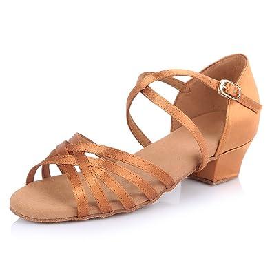 HIPPOSEUS Damen & Mädchen Sandalen Ausgestelltes Tanzschuhe/Ballsaal Standard Satin Latein Dance Schuhe,DEAF60116,Braun,EU 37