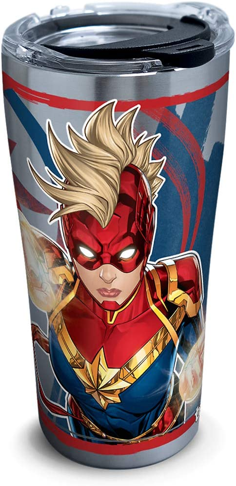 Tervis Captain Marvel Mohawk Stainless Steel Insulated Tumbler with Lid, 20oz, Silver