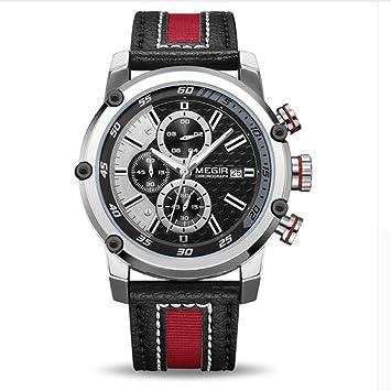 Megir Hombres Cronografo Relojes Deportivos Multifuncional Impermeable Reloj Luminoso Relojes De Cuarzo De Cuero para Hombres 2079,Silver: Amazon.es: ...