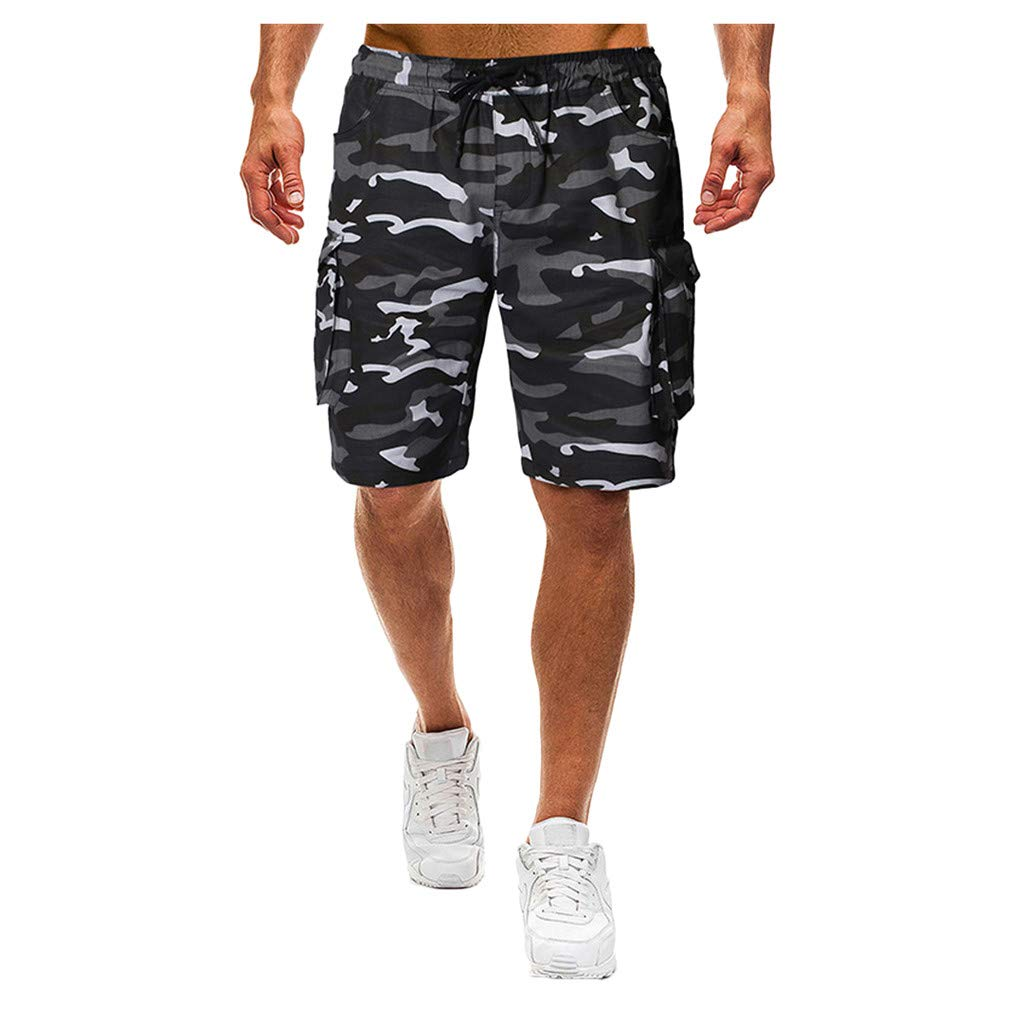 Allywit Mens Cotton Relaxed Fit Fit Outdoor Camouflage Cargo Drawstring Sports Running Shorts