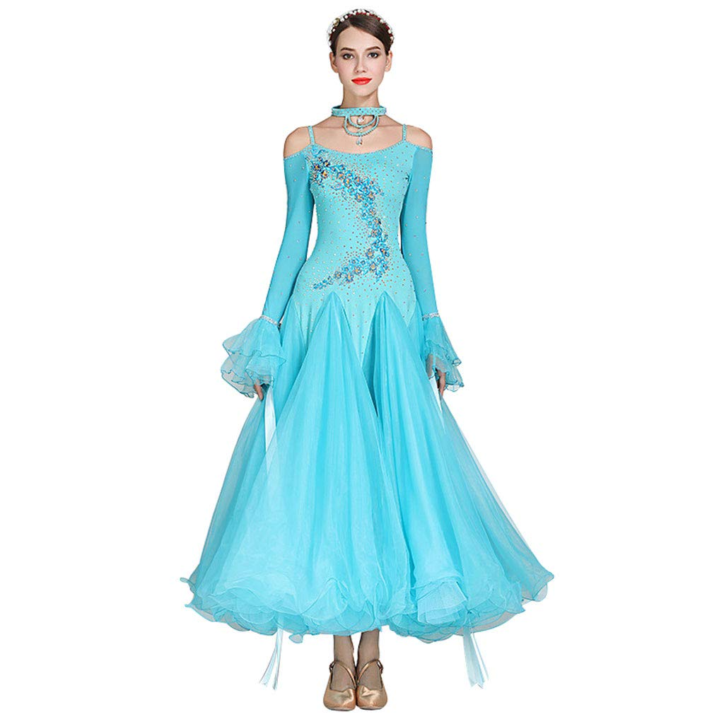 bleu X-grand LRR Robes De Concours pour Femmes Out Valse Costume Moderne Danse Chaîne Encolure en V Dos Manches Longues Grande Balançoire (Couleur   bleu, Taille   M)