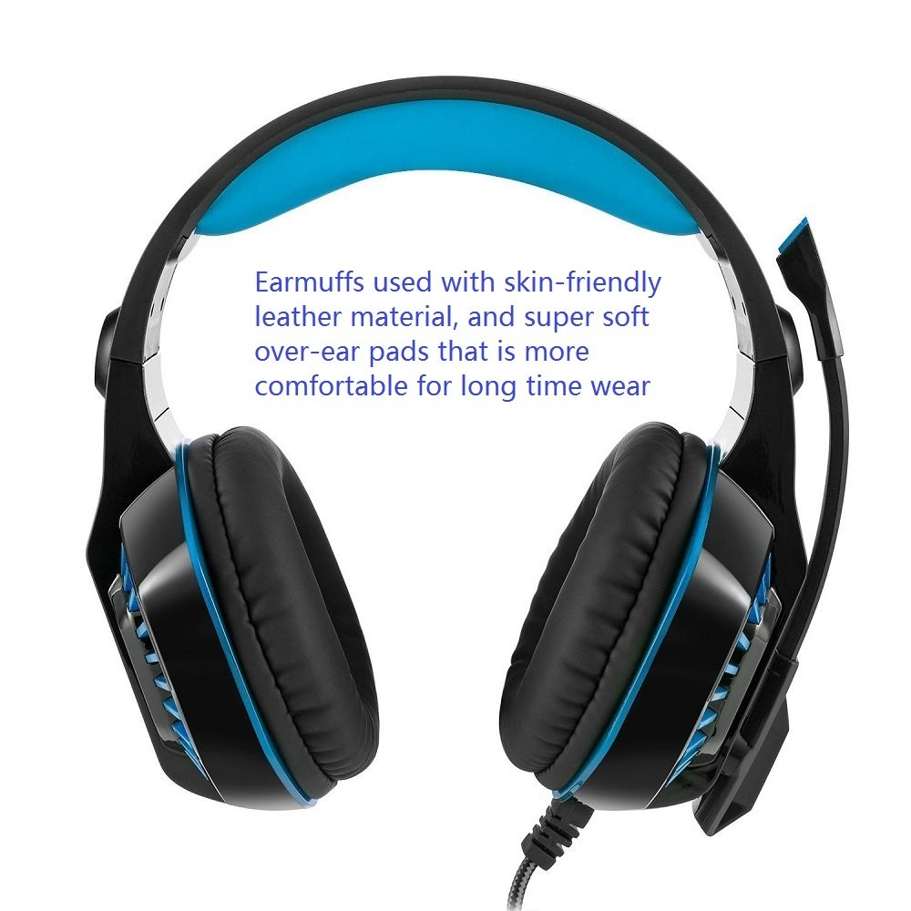 Beexcellent Gaming Headset With Microphone Led Light For Laptop Audio Wiring Diagram Pc Ps4 Xbox One Tablet Mobile Phones Gm 2 Black Blue Computers