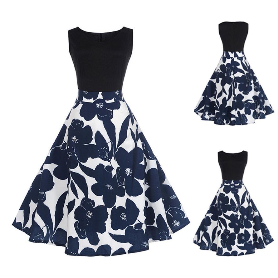Amazon.com: Hepburn Dress Promotion!Rakkiss Elegant Sleeveless Vintage Tea Ball Gown Women Floral Dress: Beauty
