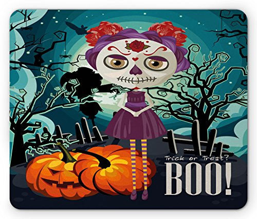 Lunarable Halloween Mouse Pad, Cartoon Girl with Sugar Skull Makeup Retro Seasonal Artwork Swirled Trees Boo, Standard Size Rectangle Non-Slip Rubber Mousepad, Multicolor