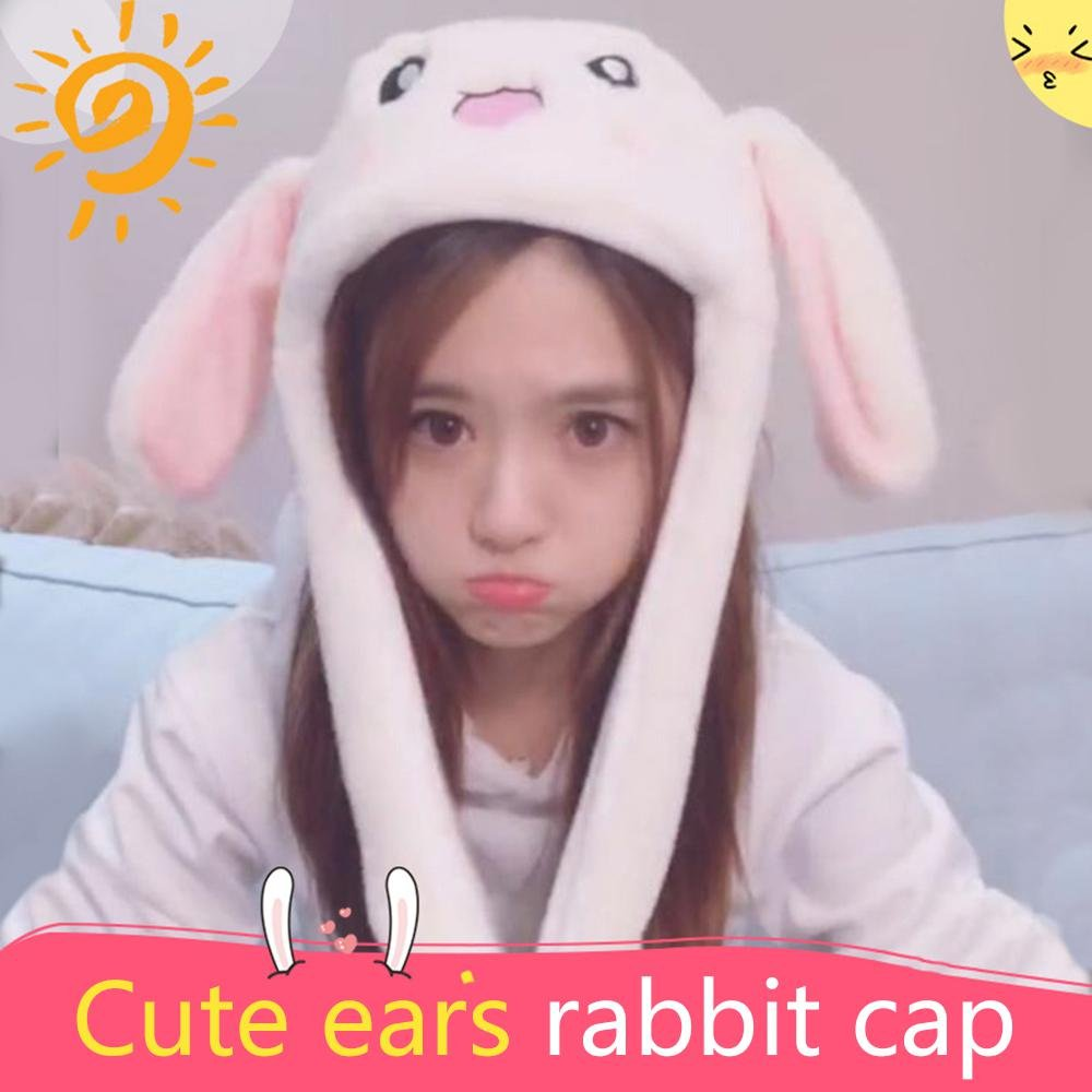 05ee07efc83 Unisex Rabbit Ear Hat Pinch The Paw Ears Will Move Plush Rabbit Hat Move  Airbag Magnet Cap Rabbit Hat Pressing Ears Will Stand Up Funny Toys for  Kids  ...