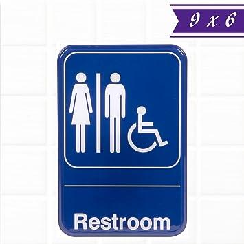 Amazoncom Unisex Restroom Sign For Door Blue And White X - Handicap unisex bathroom signs