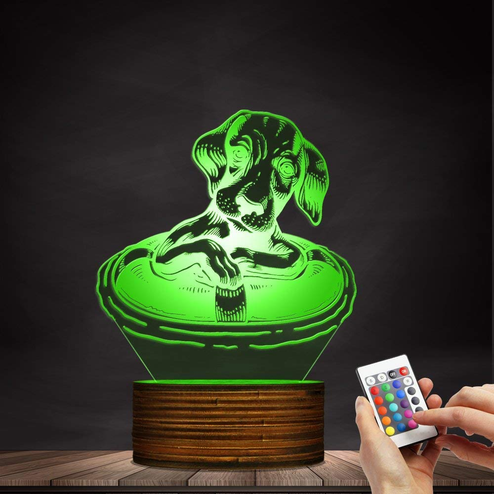 Novelty Lamp, Dachshund Dog with A Life Buoy 3D Night Light, Creative Table Lamp LED Illuminated Display with Remote Contolled Pet Lovers Gift Idea,Ambient Light by LIX-XYD (Image #6)