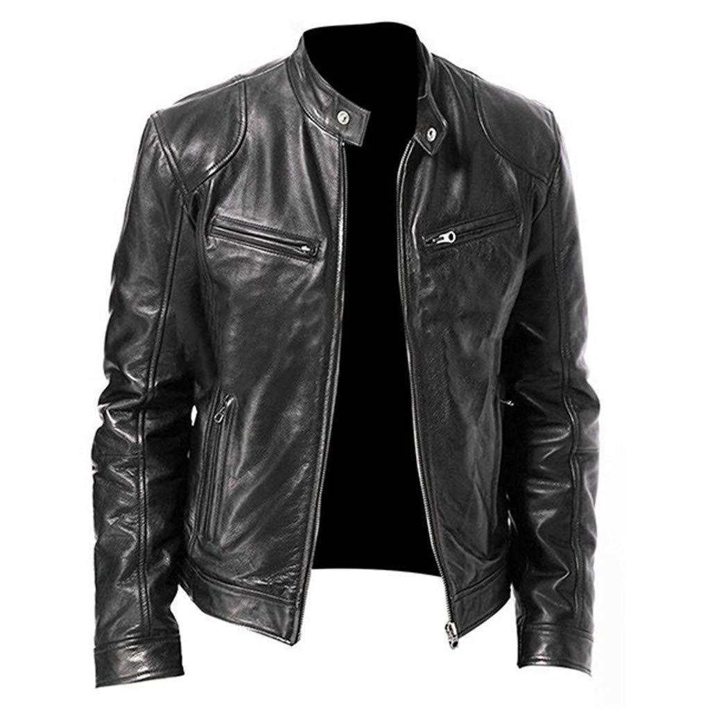 F_Gotal Mens blazer Men Brown Leather Motorcycle Jacket with Removable Hood by F_Gotal Mens blazer