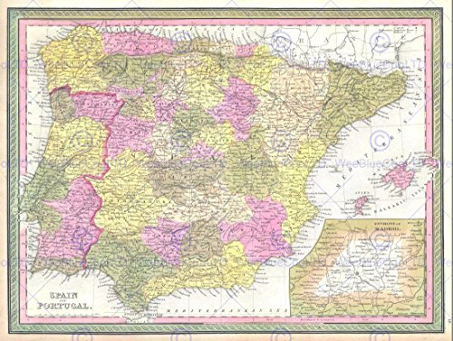 1850 MITCHELL MAP SPAIN AND PORTUGAL VINTAGE POSTER ART PRINT 12x16 inch (1850 Mitchell Map)