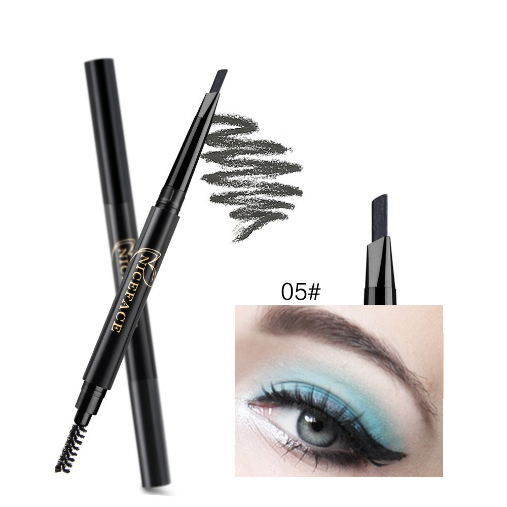 NICEFACE Precision Waterproof Brow Liner Double Ended Eyebrow Pencil With Eyebrow Brushes Tools 5 Colors coffee Pack Of 1