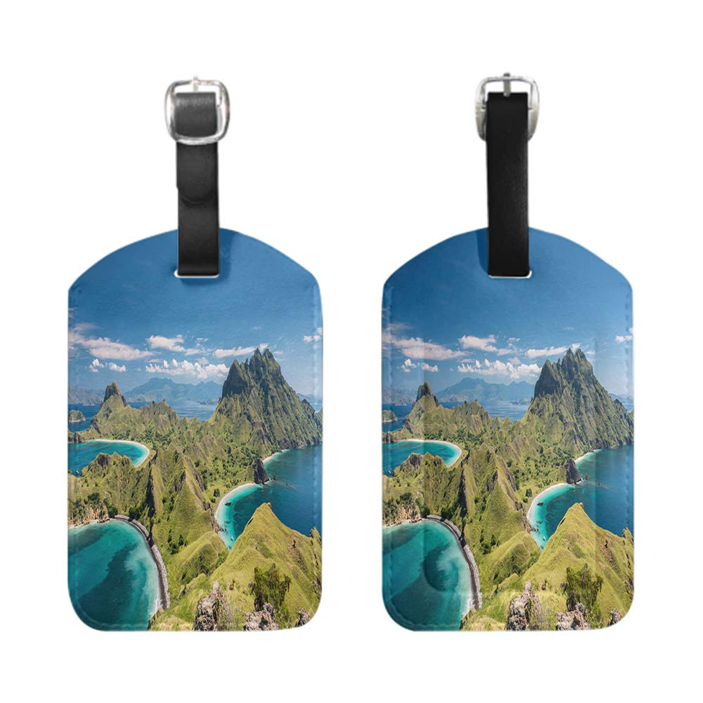 bescribe Stylish Patterned Private Luggage Tag leather name ID tag with privacy cover Mountain silhouette and stunning sky with moon at sunset-2-Piece