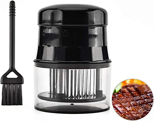 Kitchen Accessories Best For Tenderizing Stainless Steel Sharp Needle Blade BBQ and Marinade Meat Tenderizer Tool with Grip Handle Black