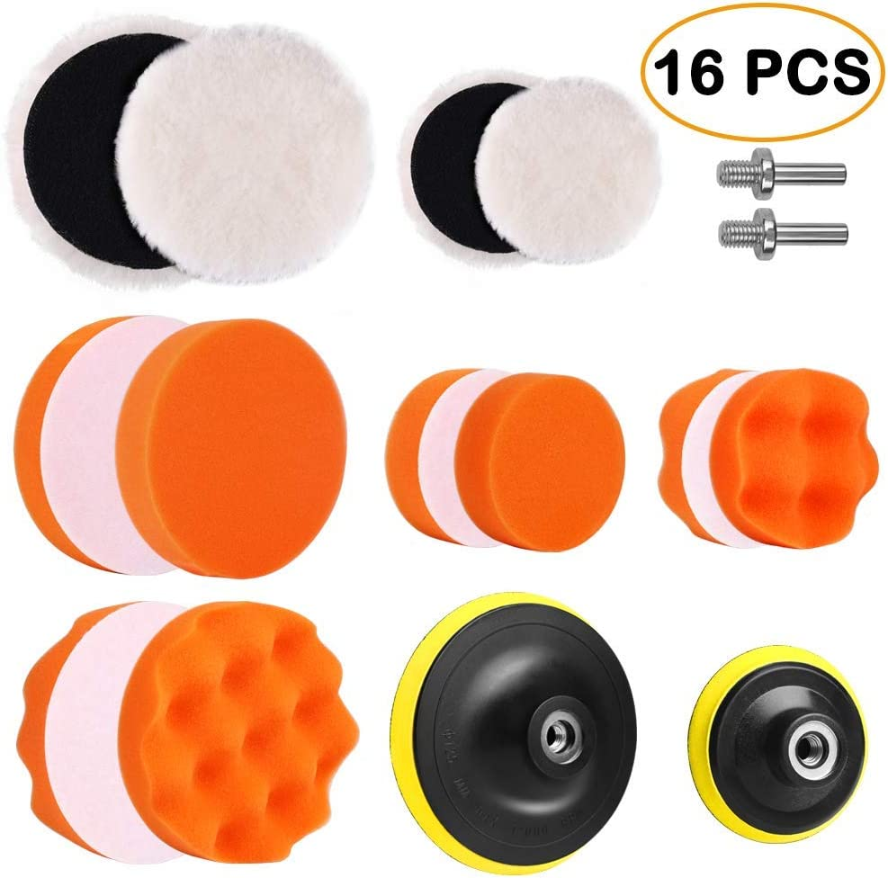 3//80mm 8pcs Polishing Waxing 8 Polishing Pads,1 Woolen Buffer, 1 Thread Drill Adapter with Shank 11Pcs 3 Inch Car Foam Drill Polishing Pad Kit Buffing Sponge Pads Kits by Yesallwas,for Car Sanding