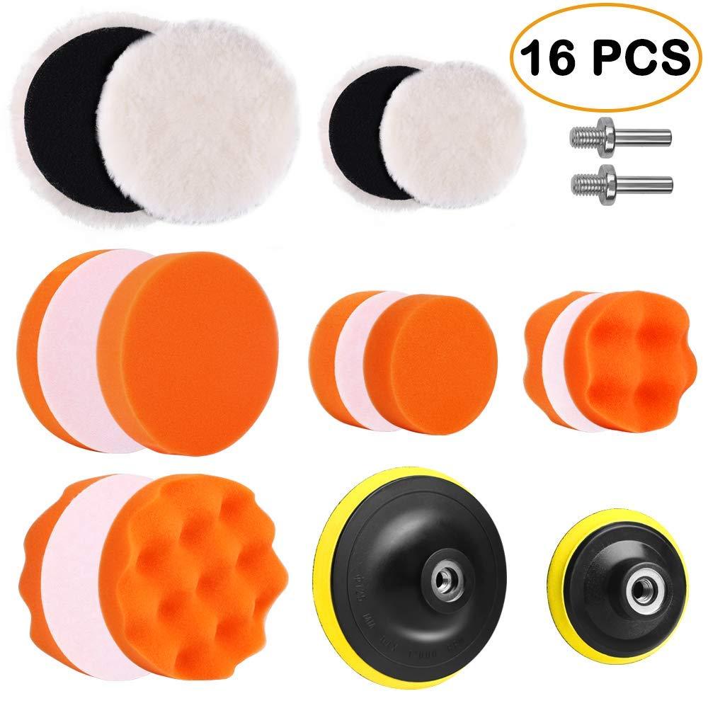 Electop 5 Inch & 3 Inch Drill Buffing Sponge Pads Car Foam Woolen Polishing Pads Kit for Car Buffer Polisher Sanding Waxing Sealing Glaze 16 PCS(12 Pads+2 Drill Adapters+2 Suction Cups)
