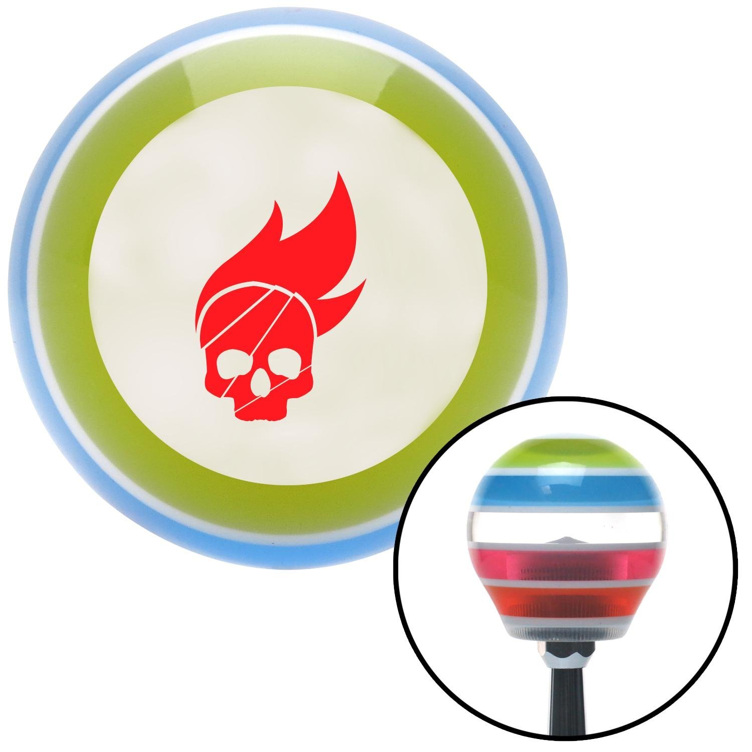 Red Skull Flame American Shifter 9937 Stripe Shift Knob with M16 x 1.5 Insert