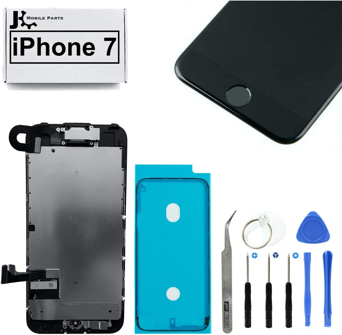 Full Screen Replacement LCD 3D Touch Assembly Front Camera Ear Speaker Home Button with Frame Adhesive and Repair Tools for iPhone 7 4.7 inch (Black)