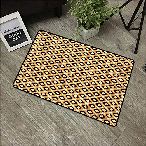 (HRoomDecor Ikat,Rubber Door mat Geometric Pattern with Indonesian Rhombus Shapes Image Vibrant Color Palette W 16
