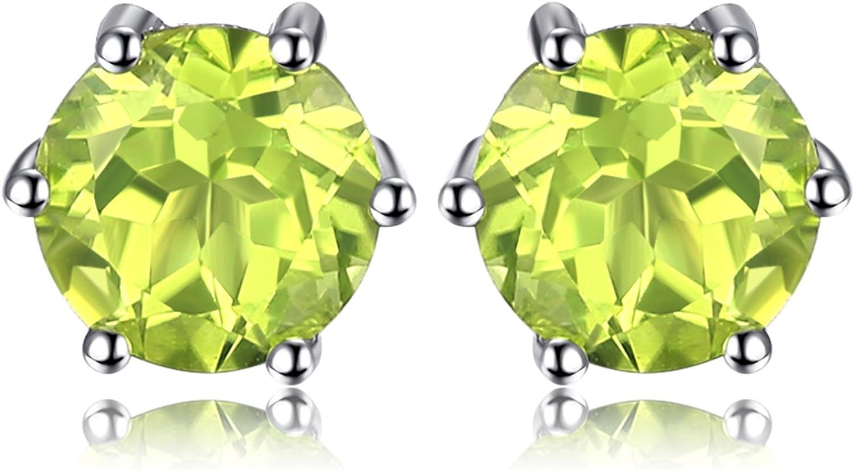 JewelryPalace Pendientes 1ct Natural Piedra Preciosa Redonda Amatista Citrino Granate Peridoto Topacio Aretes Plata de ley 925