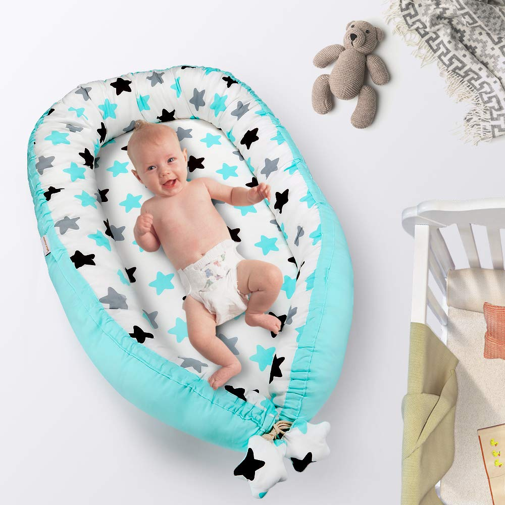 New Bear Baby Nest and Baby Bassinet 0-12 Months Portable 100/% Organic Soft Cotton Breathable Crib Perfect for Co-Sleeping and Traveling Baby Lounger