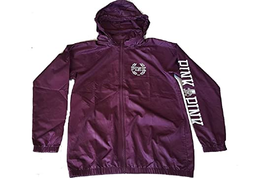 bd0a8cf9af Image Unavailable. Image not available for. Color  Victoria s Secret PINK  Anorak Windbreaker Full-Zip Hoodie Jacket Medium Burgundy