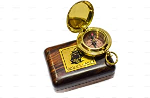Sailor's Art Pocket Compass, Camping Travelling Equipment, Boat Compass, Engraved Brass Compass, Home Decor, Gifts for Kids Children Teen Family, Nautical Navy Compass
