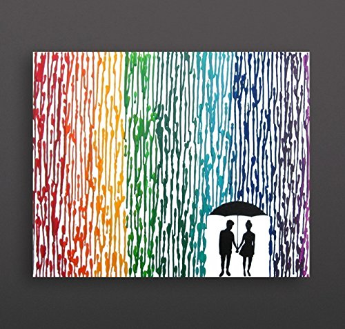 Lesbian Wedding Gift Punk Girl and Girly Girl 16quotx20quot Canvas Rainbow Melted Crayon Art