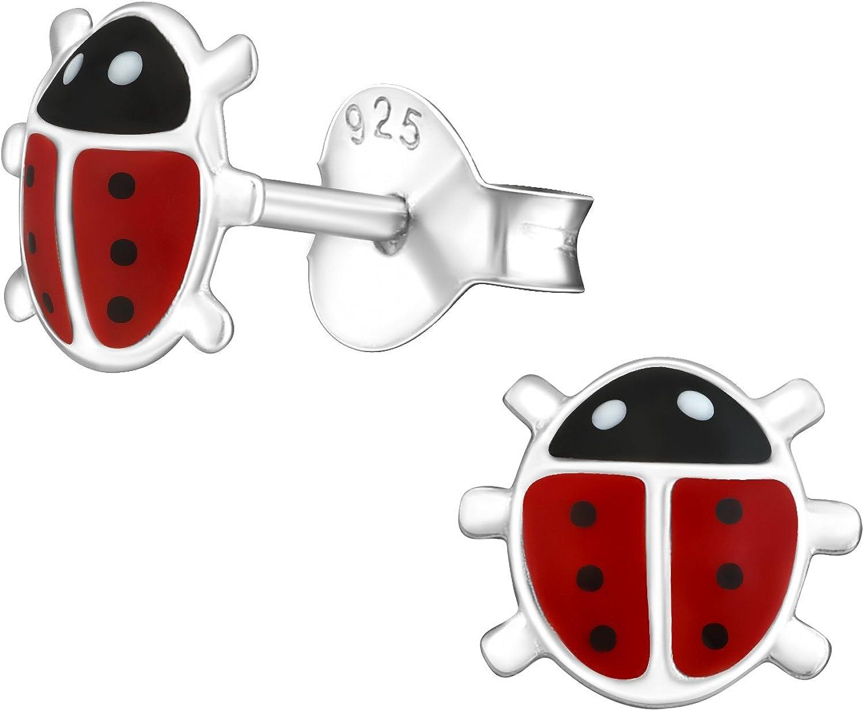 laimons Kids Niños de pendientes niña Mariquita joyas rojo, negro plata de ley 925