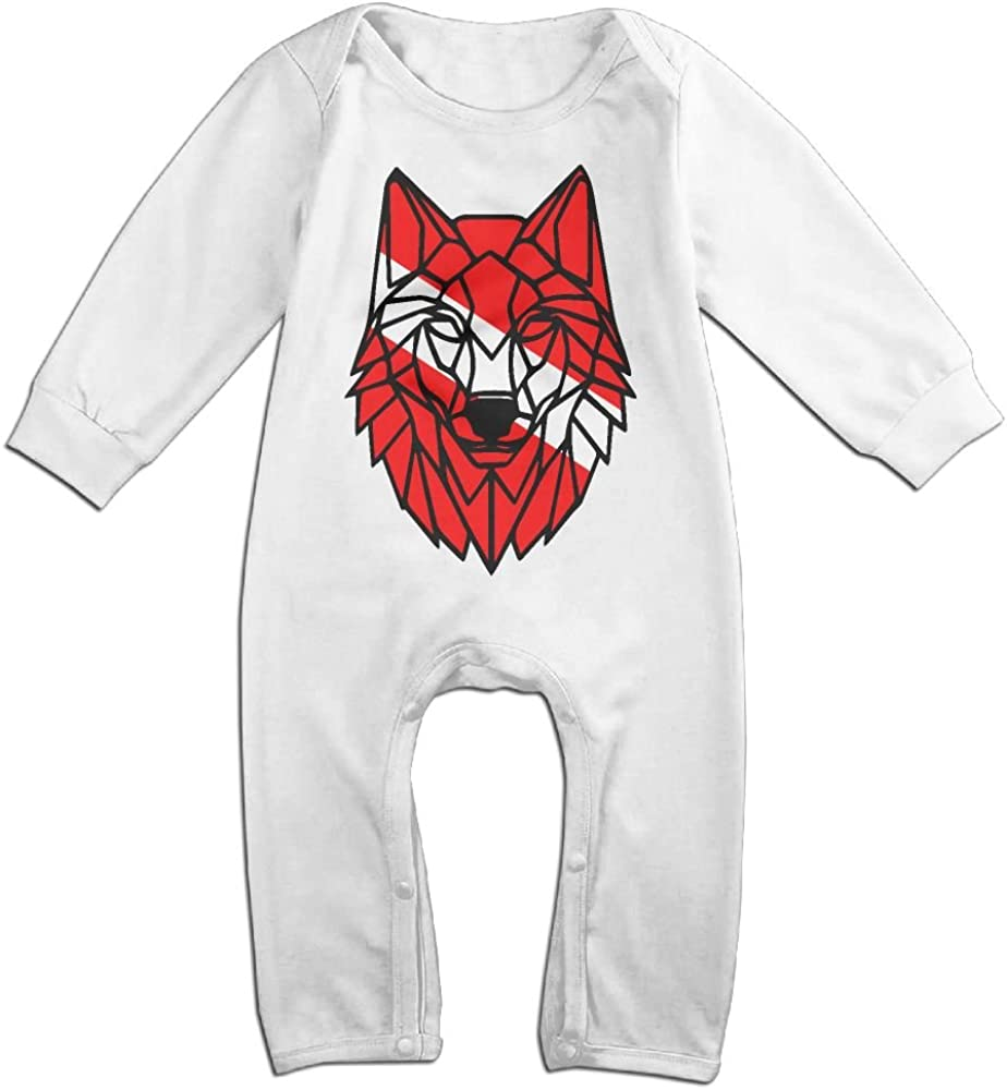 Geometric Wolf Long Sleeve Baby Romper