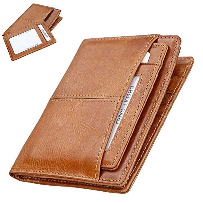 be97432e3617 Slim Bifold Front Pocket Minimalist Wallet with Money Clip for Men RFID  Blocking Thin Travel Genuine Leather Card holder