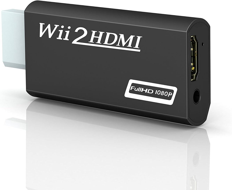 Wii a HDMI adaptador, gana Wii a HDMI convertidor conector con salida de vídeo de 1080p/720p y 3,5 mm Audio - Soporta todos los modos de visualización de Wii (Wii a HDMI Negro)
