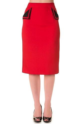 Falda de lápiz escocesa de Banned (rojo)