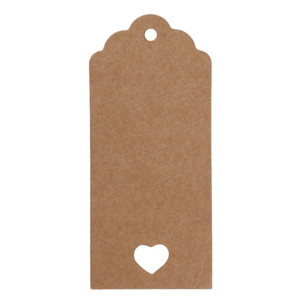 Whitelotous 50 PCs Kraft Paper Gift Tags with String Rectangle Vintage Bonbonniere Favor Gift Tags Craft Hang Tags Wedding Party Tags (4 x 9cm, White)