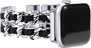 NewWays Compatible for Apple Watch Band 38mm Women, Jewelry Bracelet for Apple Watch Band 40mm Series 6 SE Series 4 Series 5 iwatch Bands 38mm Womens, Silver Link with Black Leather