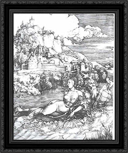 A sea monster bearing away a princess 24x20 Black Ornate Wood Framed Canvas Art by Albrecht ()