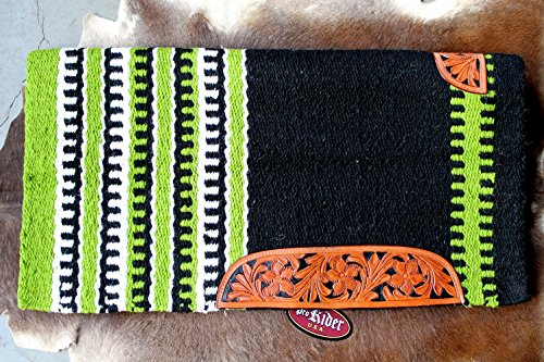 34x36 Horse Wool Western Show Trail SADDLE BLANKET Rodeo Pad Rug LimeGreen 36281