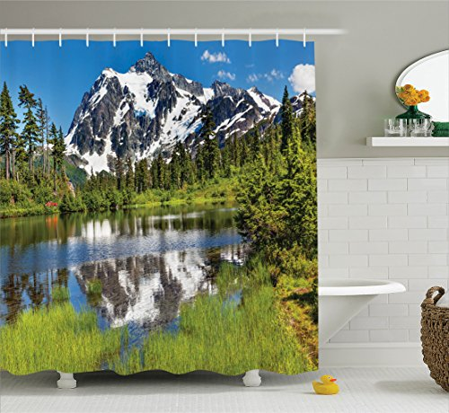 Ambesonne Lake House Decor Collection, Picture of Lake, Evergreens, Mount Shuksan, Highway. Washington Pacific Northwest USA, Polyester Fabric Bathroom Shower Curtain Set with Hooks, Green Blue