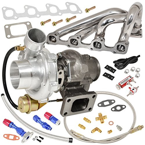 Volvo 740 Turbo (Volvo 240 740 940 2.3L N/A Engine Manifold Stainless Steel + T3 / T4 V-Band Oil Cooled Turbo Charger with Internal Wastegate + Oil Return Drain Line Kit + Boost Controller Red)