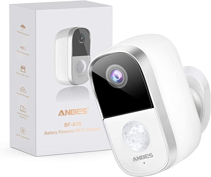 Anbes Security Camera Outdoor Indoor Wireless Rechargeable Battery Powered Camera with Night Vision, Motion Detection, 1080P Video with 2-Way Audio, Waterproof Home Security Camera with Cloud Service