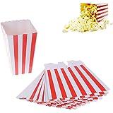 Popcorn-Behälter für Kino oder Party, klein, Papier, rot und weiß gestreift, 12Stück