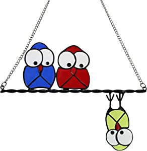 Multicolor Birds on a Wire Stained Window Hangings, Owl Window Hangings Metal Bird Catcher Ornament Decoration Sculpture for Door Wall Home Garden Decor Bird Lover Gift