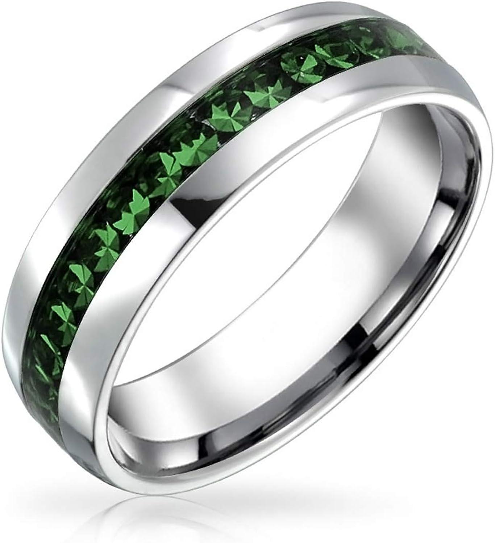 Bling Jewelry Personalizado Mayo Mes Nacimiento del Canal Color Verde Oscuro Cristal Eternidad Anillo Banda Acero Personalizado