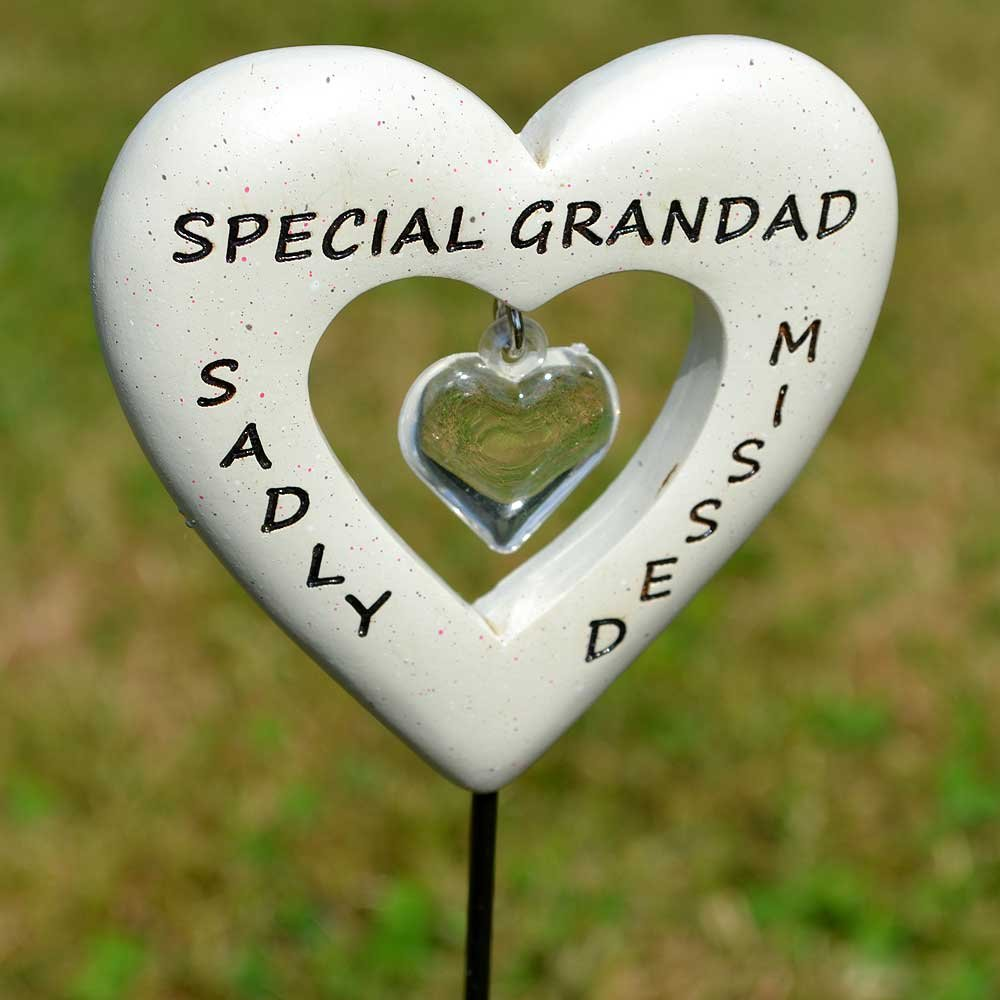Angraves Sadly Missed Special Grandad Love Heart Memorial Tribute Stick Graveside Plaque