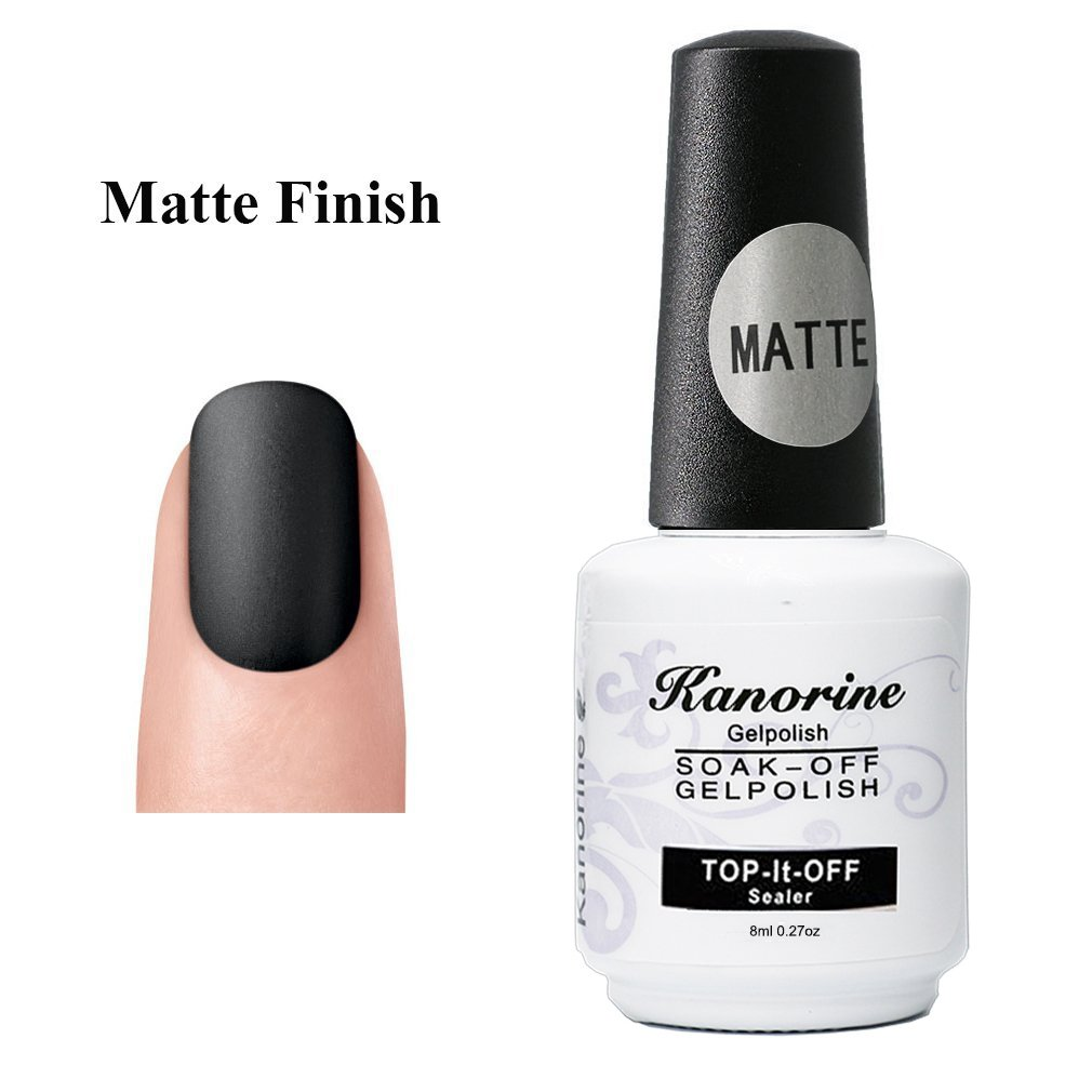 Kanorine Matte Top Coat UV LED Soak Off Gel Nail Polish Lacquer Manicure Nail Sarlon Art 8ml (type1)) (Matte Top)