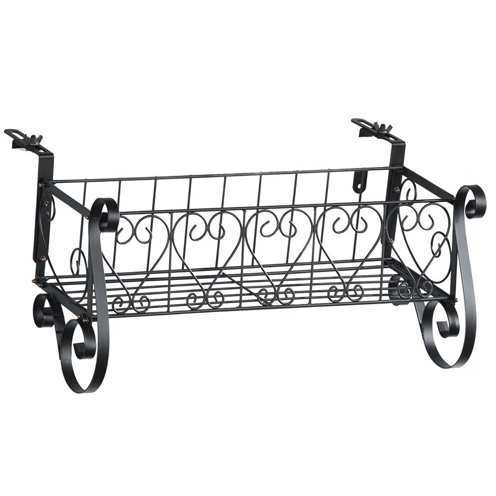 Black Iron Scrollwork Deck Rail Planter Box with Adjustable Brackets, Large