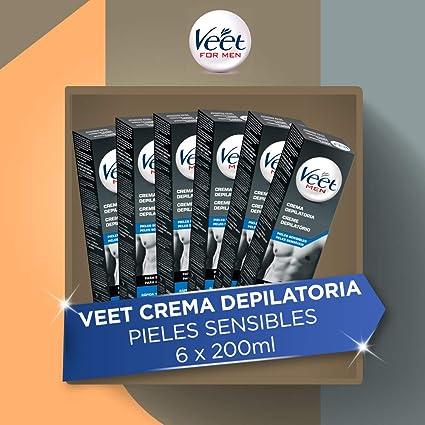 Veet for Men - Crema Depilatoria para hombre para pieles sensibles, pack de 6 x 200 ml