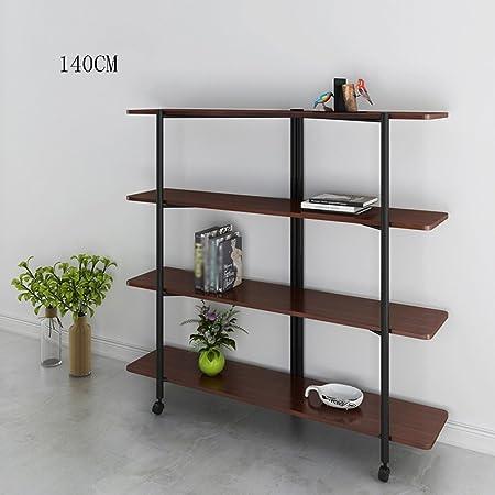Magazine Racks Newspaper Stand Mobile Bookshelf With Wheels Wood Shelf Incorporated Multifunction Cabinet Brown Natural