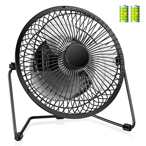 COMLIFE 7.5 Inch Battery Operated or USB Powered Desk Fan, Metal Desktop Personal Fan with 4400mAh Rechargeable Batteries, 2 Speeds and Low Noise, Portable Cooling Fan for Home, Office or Outdoor Use