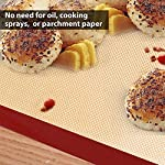 Silicone Baking Mat Set of 5 Non Stick 3 Silicone Baking Mats and 1 BBQ Grill Mat and 1 Basting Brush Professional Grade Non Stick Baking Sheet for Bake Pans & Rolling Silicone Oven Mat Baking Sheet 11 ❤This baking sheet is suitable for oven, microwave and refrigerator. Can be used at temperatures varying from -40 degree to 500℉ (260°C). High quality and durable, can be reused for up to 4000 times ❤Non-stick, easy to clean, just wash with soap and water, rinse, shake off water and air dry. No oil, sprays or parchment paper needed ❤Made with silicone-coated fiberglass mesh, these professional-grade mats provide evenly spreaded heating. You get consistent, delicious results - no burned or undercooked spots!