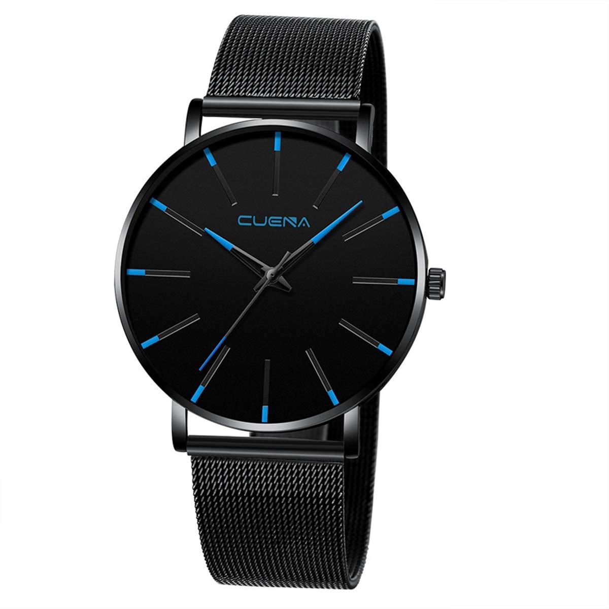 ZODRQ Men's Watch,Fashion Watches Stainless Steel Mesh Wrist Watch Casual Wristwatch Quartz Watch for Men Gift (B) by ZODRQ