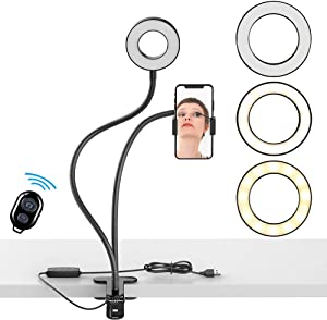 Vitecnovo Selfie Ring Light with Desktop Clamp, LED Fill Light with Mobile Phone Stand Holder, for Live Stream/YouTube TikTok Video/Makeup, 3 Light Modes 10 Level Brightness